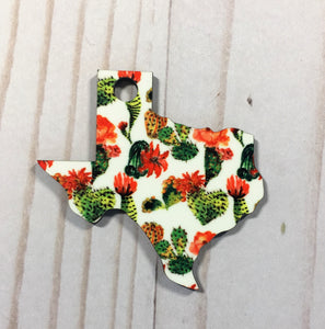 Texas Shaped Double Sided Keychains with Tassel
