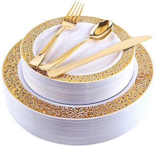 150 Piece Gold Plastic Plates With Gold Plastic Silverware Only $13.47 + Free Shipping w/Prime