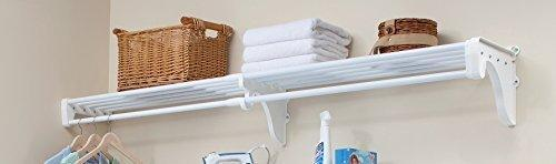 Exclusive expandable closet rod and shelf units with 1 end bracket finish white