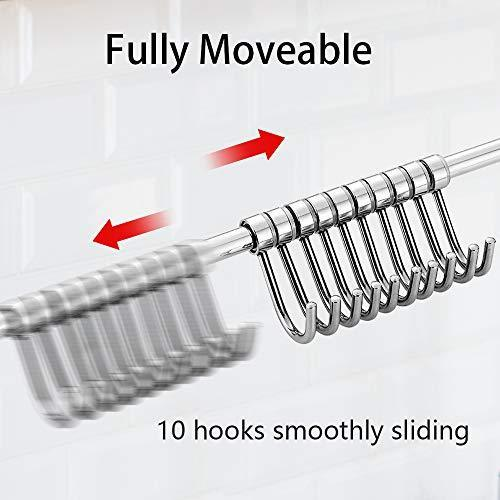 Get nidouillet kitchen rail wall mounted utensil racks with 10 stainless steel sliding hooks for kitchen tool pot lid pan towel ab005