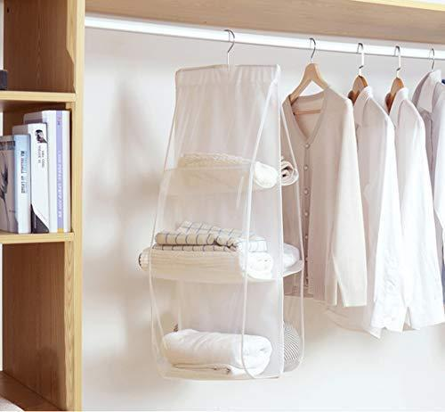 Featured wolunwo hanging purse handbag organizer breathable non woven closet storage holder bag with 6 easy access clear pockets white