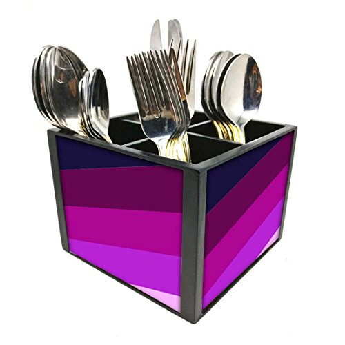 "Nutcase Designer Cutlery Stand Holder Silverware Caddy-Spoons Forks Knives Organizer for Dining Table & kitchen -W-5.75""x H -4.25""x L-5.5""-SPOONS NOT INCLUDED - Shades Of Purple"