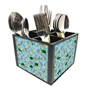 "Nutcase Designer Cutlery Stand Holder Silverware Caddy-Spoons Forks Knives Organizer for Dining Table & kitchen -W-5.75""x H -4.25""x L-5.5""-SPOONS NOT INCLUDED - Chirping Sheeps"