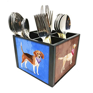 "Nutcase Designer Cutlery Stand Holder Silverware Caddy-Spoons Forks Knives Organizer for Dining Table & kitchen W-5.75""x H -4.25""x L-5.5"" - Cute Smart Dogs"