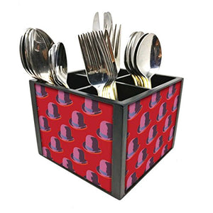 "Nutcase Designer Cutlery Stand Holder Silverware Caddy-Spoons Forks Knives Organizer for Dining Table & kitchen -W-5.75""x H -4.25""x L-5.5""-SPOONS NOT INCLUDED - Hat Red"
