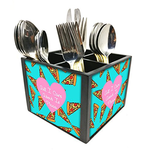 "Nutcase Designer Cutlery Stand Holder Silverware Caddy-Spoons Forks Knives Organizer for Dining Table & kitchen -W-5.75""x H -4.25""x L-5.5""-SPOONS NOT INCLUDED - Pizza Slice"
