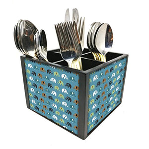 "Nutcase Designer Cutlery Stand Holder Silverware Caddy-Spoons Forks Knives Organizer for Dining Table & kitchen -W-5.75""x H -4.25""x L-5.5""-SPOONS NOT INCLUDED - Elements Blue"