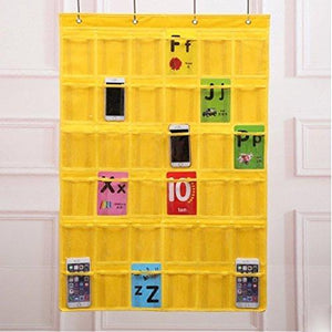 Kitchen lecent classroom pocket chart for cell phones business cards 36 pockets wall door closet mobile hanging storage bag organizer clear pocket