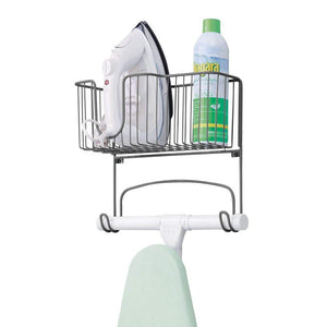 mDesign Metal Wall Mount Ironing Board Holder with Large Storage Basket - Holds Iron, Board, Spray Bottles, Starch, Fabric Refresher for Laundry Rooms - Graphite Gray