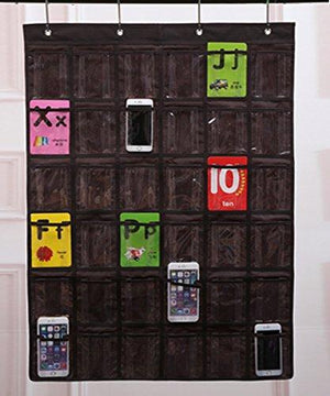 New lecent classroom pocket chart for cell phones business cards 36 pockets wall door closet mobile hanging storage bag organizer clear pocket