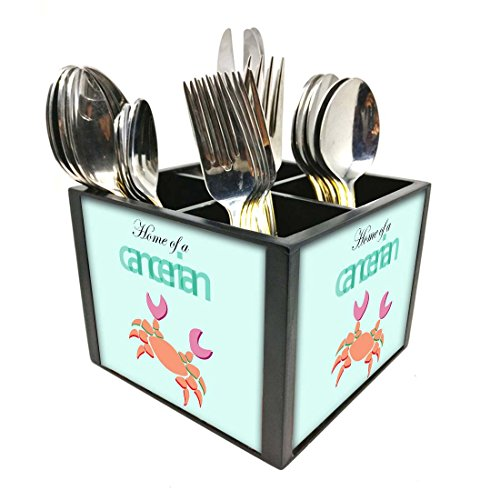 "Nutcase Designer Cutlery Stand Holder Silverware Caddy-Spoons Forks Knives Organizer for Dining Table & kitchen W-5.75""x H -4.25""x L-5.5"" - Cancerian"