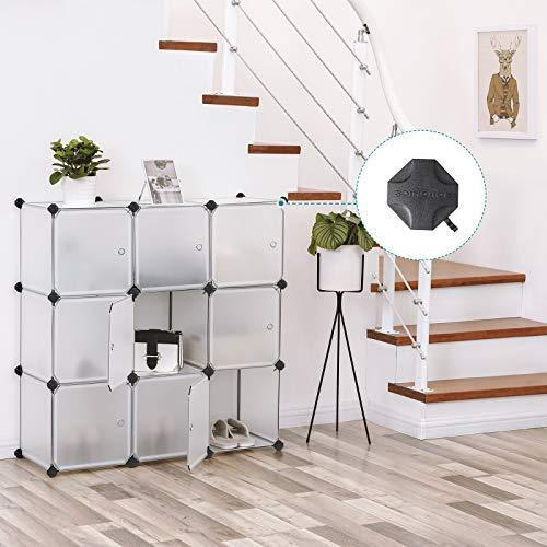 Great songmics cube storage organizer 9 cube diy plastic closet cabinet modular bookcase storage shelving with doors for bedroom living room office 36 7 l x 12 2 w x 36 7 h inches white ulpc116wsv1