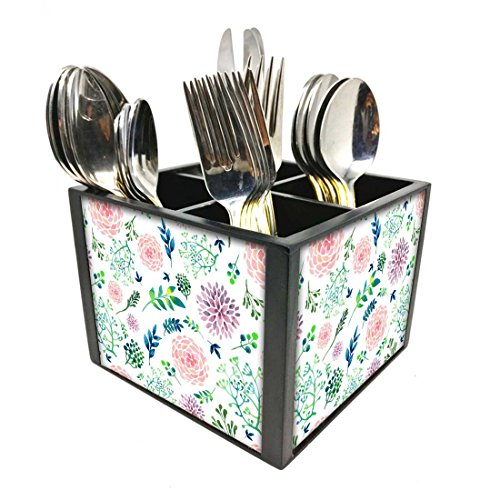 "Nutcase Designer Cutlery Stand Holder Silverware Caddy-Spoons Forks Knives Organizer for Dining Table & kitchen W-5.75""x H -4.25""x L-5.5"" - Cute Flowers"