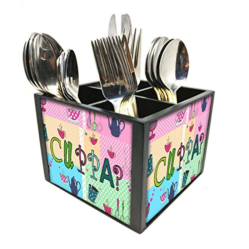 "Nutcase Designer Cutlery Stand Holder Silverware Caddy-Spoons Forks Knives Organizer for Dining Table & kitchen -W-5.75""x H -4.25""x L-5.5""-SPOONS NOT INCLUDED - Cuppa"