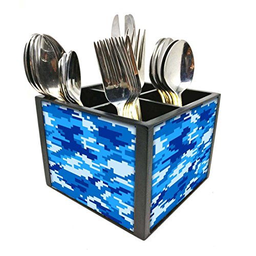 "Nutcase Designer Cutlery Stand Holder Silverware Caddy-Spoons Forks Knives Organizer for Dining Table & kitchen -W-5.75""x H -4.25""x L-5.5""-SPOONS NOT INCLUDED - 8 Bit Camo Blue Navy"