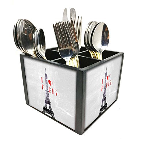 "Nutcase Designer Cutlery Stand Holder Silverware Caddy-Spoons Forks Knives Organizer for Dining Table & kitchen -W-5.75""x H -4.25""x L-5.5""-SPOONS NOT INCLUDED - I Love Paris City"
