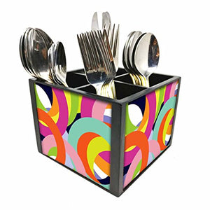 "Nutcase Designer Cutlery Stand Holder Silverware Caddy-Spoons Forks Knives Organizer for Dining Table & kitchen -W-5.75""x H -4.25""x L-5.5""-SPOONS NOT INCLUDED - Coloreful Rings"
