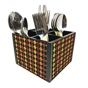 "Nutcase Designer Cutlery Stand Holder Silverware Caddy-Spoons Forks Knives Organizer for Dining Table & kitchen W-5.75""x H -4.25""x L-5.5"" - Small Diamonds"
