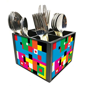 "Nutcase Designer Cutlery Stand Holder Silverware Caddy-Spoons Forks Knives Organizer for Dining Table & kitchen W-5.75""x H -4.25""x L-5.5"" - Blocks of color"
