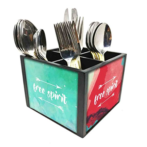 "Nutcase Designer Cutlery Stand Holder Silverware Caddy-Spoons Forks Knives Organizer for Dining Table & kitchen W-5.75""x H -4.25""x L-5.5"" - Free Spirit"