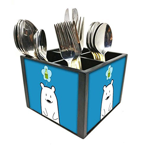 "Nutcase Designer Cutlery Stand Holder Silverware Caddy-Spoons Forks Knives Organizer for Dining Table & kitchen -W-5.75""x H -4.25""x L-5.5""-SPOONS NOT INCLUDED - Cute Funny Bear"