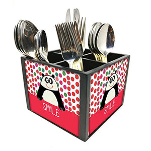"Nutcase Designer Cutlery Stand Holder Silverware Caddy-Spoons Forks Knives Organizer for Dining Table & kitchen -W-5.75""x H -4.25""x L-5.5""-SPOONS NOT INCLUDED - Panda"
