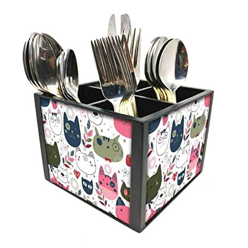 "Nutcase Designer Cutlery Stand Holder Silverware Caddy-Spoons Forks Knives Organizer for Dining Table & kitchen W-5.75""x H -4.25""x L-5.5"" - Cute Cats"