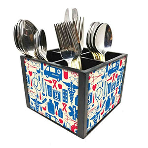 "Nutcase Designer Cutlery Stand Holder Silverware Caddy-Spoons Forks Knives Organizer for Dining Table & kitchen W-5.75""x H -4.25""x L-5.5"" - Doctor Prescription"