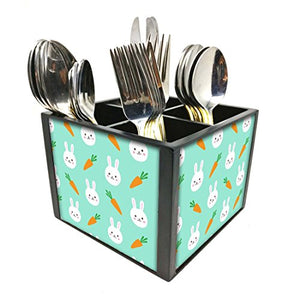"Nutcase Designer Cutlery Stand Holder Silverware Caddy-Spoons Forks Knives Organizer for Dining Table & kitchen W-5.75""x H -4.25""x L-5.5"" - Rabit And Carrot"