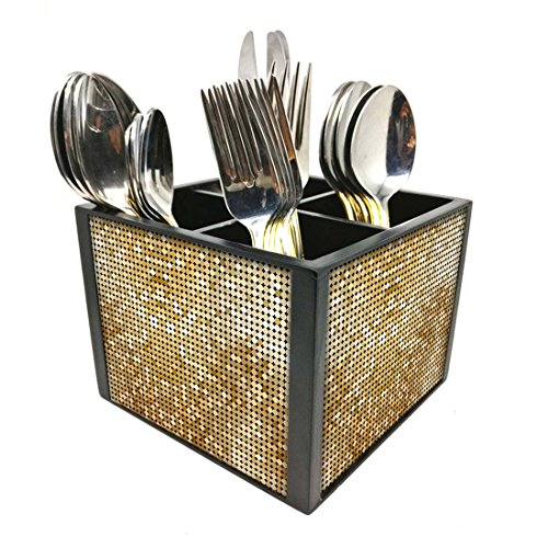 "Nutcase Designer Cutlery Stand Holder Silverware Caddy-Spoons Forks Knives Organizer for Dining Table & kitchen W-5.75""x H -4.25""x L-5.5"" - Gold Circles"