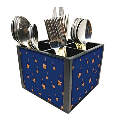 "Nutcase Designer Cutlery Stand Holder Silverware Caddy-Spoons Forks Knives Organizer for Dining Table & kitchen W-5.75""x H -4.25""x L-5.5"" - Cup Of Tea Blue"