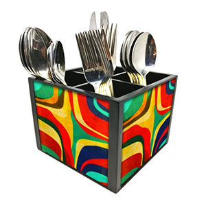 "Nutcase Designer Cutlery Stand Holder Silverware Caddy-Spoons Forks Knives Organizer for Dining Table & kitchen -W-5.75""x H -4.25""x L-5.5""-SPOONS NOT INCLUDED - Retro Art Deco"