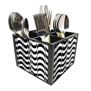"Nutcase Designer Cutlery Stand Holder Silverware Caddy-Spoons Forks Knives Organizer for Dining Table & kitchen W-5.75""x H -4.25""x L-5.5"" - Black Waves"