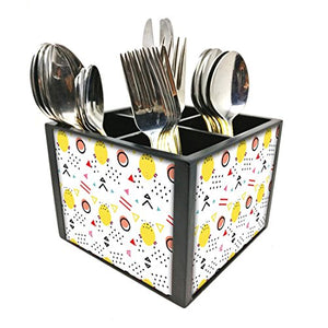 "Nutcase Designer Cutlery Stand Holder Silverware Caddy-Spoons Forks Knives Organizer for Dining Table & kitchen W-5.75""x H -4.25""x L-5.5"" - Cute Mix"