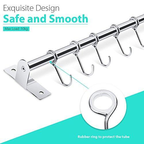 Discover lesfit utensil rack kitchen wall mounted stainless steel rack rail for hanging knives pot and pan with 8 removable hooks 20 inches