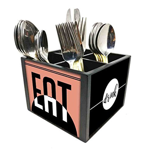 "Nutcase Designer Cutlery Stand Holder Silverware Caddy-Spoons Forks Knives Organizer for Dining Table & kitchen W-5.75""x H -4.25""x L-5.5"" - Eat Drink"