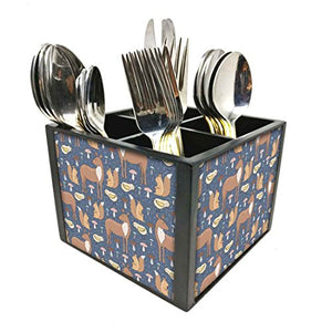 "Nutcase Designer Cutlery Stand Holder Silverware Caddy-Spoons Forks Knives Organizer for Dining Table & kitchen W-5.75""x H -4.25""x L-5.5"" - DEER FOREST"