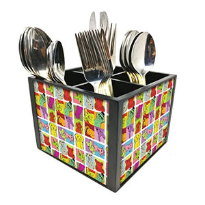 "Nutcase Designer Cutlery Stand Holder Silverware Caddy-Spoons Forks Knives Organizer for Dining Table & kitchen -W-5.75""x H -4.25""x L-5.5""-SPOONS NOT INCLUDED - Dog Face"