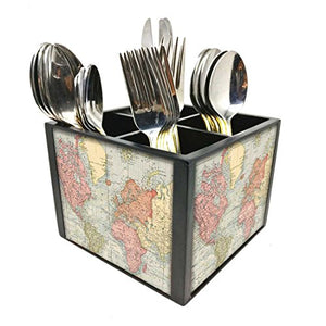 "Nutcase Designer Cutlery Stand Holder Silverware Caddy-Spoons Forks Knives Organizer for Dining Table & kitchen -W-5.75""x H -4.25""x L-5.5""-SPOONS NOT INCLUDED - Vintage map"