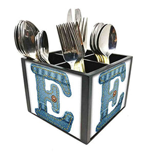"Nutcase Designer Cutlery Stand Holder Silverware Caddy-Spoons Forks Knives Organizer for Dining Table & kitchen W-5.75""x H -4.25""x L-5.5"" - Letter E"
