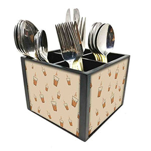 "Nutcase Designer Cutlery Stand Holder Silverware Caddy-Spoons Forks Knives Organizer for Dining Table & kitchen W-5.75""x H -4.25""x L-5.5"" - Cup Of Tea"