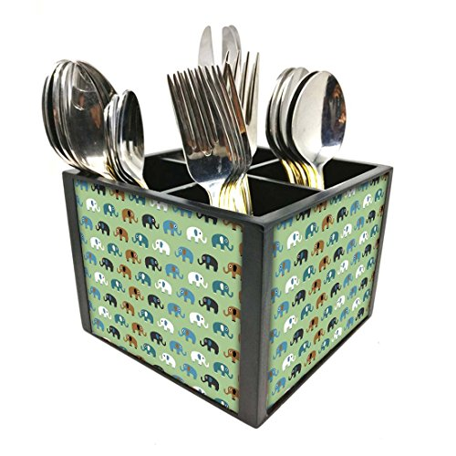 "Nutcase Designer Cutlery Stand Holder Silverware Caddy-Spoons Forks Knives Organizer for Dining Table & kitchen -W-5.75""x H -4.25""x L-5.5""-SPOONS NOT INCLUDED - Small Elements Green"
