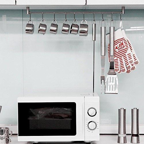 Best squelo kitchen rail rack wall mounted utensil hanging rack stainless steel hanger hooks for kitchen tools pot towel