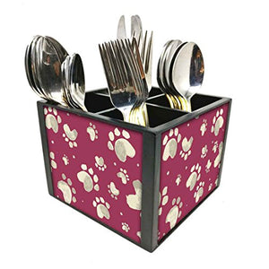 "Nutcase Designer Cutlery Stand Holder Silverware Caddy-Spoons Forks Knives Organizer for Dining Table & kitchen W-5.75""x H -4.25""x L-5.5"" - Paw Prints"