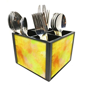 "Nutcase Designer Cutlery Stand Holder Silverware Caddy-Spoons Forks Knives Organizer for Dining Table & kitchen -W-5.75""x H -4.25""x L-5.5""-SPOONS NOT INCLUDED - Yellow Watercolor"