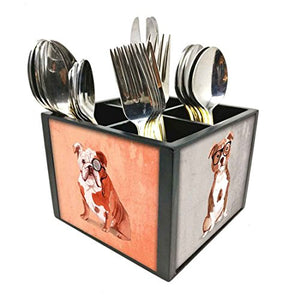 "Nutcase Designer Cutlery Stand Holder Silverware Caddy-Spoons Forks Knives Organizer for Dining Table & kitchen W-5.75""x H -4.25""x L-5.5"" - Hipster Pug"