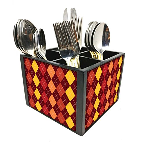 "Nutcase Designer Cutlery Stand Holder Silverware Caddy-Spoons Forks Knives Organizer for Dining Table & kitchen W-5.75""x H -4.25""x L-5.5"" - Diamonds I Red And Yellow"