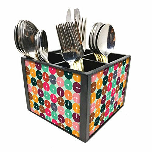 "Nutcase Designer Cutlery Stand Holder Silverware Caddy-Spoons Forks Knives Organizer for Dining Table & kitchen W-5.75""x H -4.25""x L-5.5"" - Map Codes"