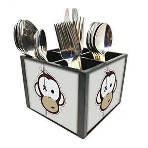 "Nutcase Designer Cutlery Stand Holder Silverware Caddy-Spoons Forks Knives Organizer for Dining Table & kitchen -W-5.75""x H -4.25""x L-5.5""-SPOONS NOT INCLUDED - Crying Monkey"