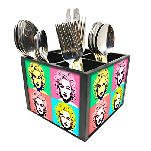 "Nutcase Designer Cutlery Stand Holder Silverware Caddy-Spoons Forks Knives Organizer for Dining Table & kitchen W-5.75""x H -4.25""x L-5.5"" - Marilyn"